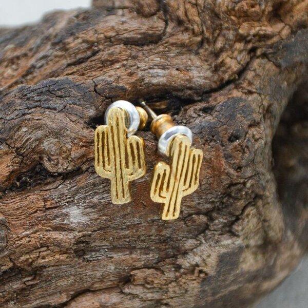 Kaktus Ohrstecker, Gold